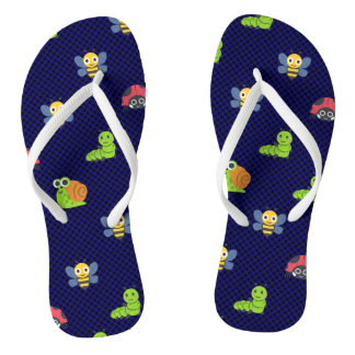 emoji lady bug caterpillar snail bee polka dots flip flops