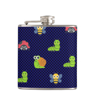 emoji lady bug caterpillar snail bee polka dots hip flask
