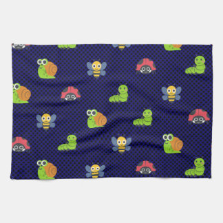 emoji lady bug caterpillar snail bee polka dots kitchen towel