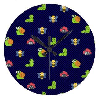 emoji lady bug caterpillar snail bee polka dots large clock