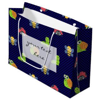 emoji lady bug caterpillar snail bee polka dots large gift bag