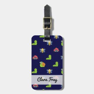 emoji lady bug caterpillar snail bee polka dots luggage tag