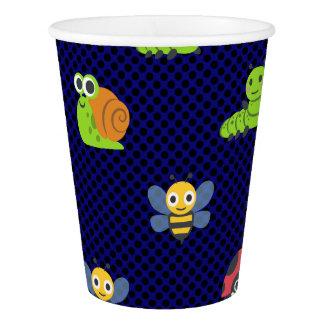 emoji lady bug caterpillar snail bee polka dots paper cup