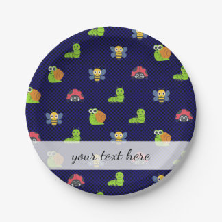 emoji lady bug caterpillar snail bee polka dots paper plate