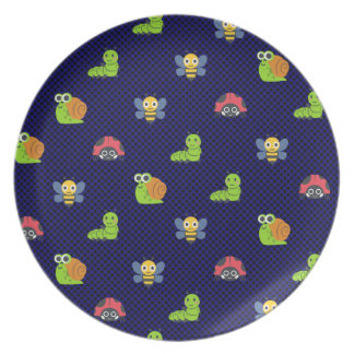 emoji lady bug caterpillar snail bee polka dots plate