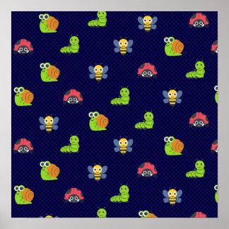 emoji lady bug caterpillar snail bee polka dots poster