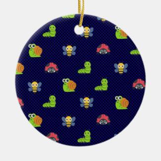 emoji lady bug caterpillar snail bee polka dots round ceramic ornament