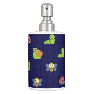 emoji lady bug caterpillar snail bee polka dots soap dispenser and toothbrush holder
