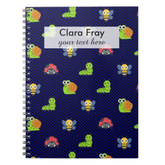 emoji lady bug caterpillar snail bee polka dots spiral notebook