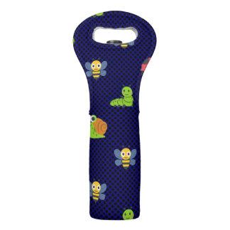 emoji lady bug caterpillar snail bee polka dots wine bag