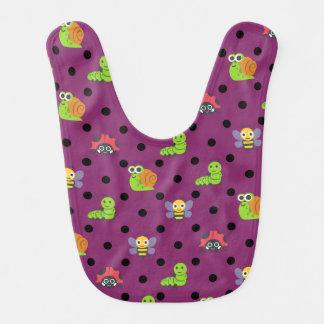 Emoji lady bug snail bee caterpillar polka dots bib