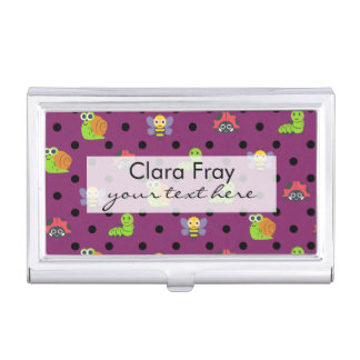 Emoji lady bug snail bee caterpillar polka dots business card holders