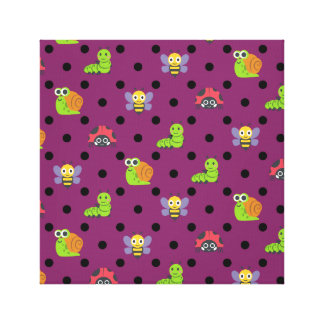 Emoji lady bug snail bee caterpillar polka dots canvas print
