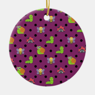 Emoji lady bug snail bee caterpillar polka dots ceramic ornament
