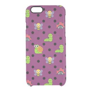 Emoji lady bug snail bee caterpillar polka dots clear iPhone 6/6S case