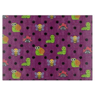 Emoji lady bug snail bee caterpillar polka dots cutting board