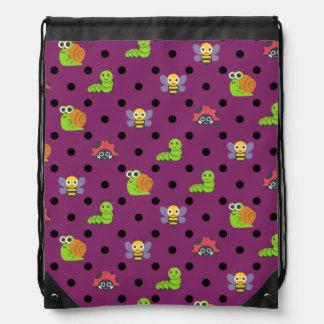 Emoji lady bug snail bee caterpillar polka dots drawstring bag