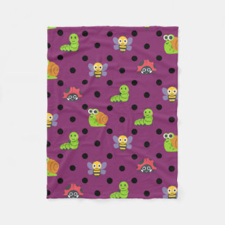 Emoji lady bug snail bee caterpillar polka dots fleece blanket