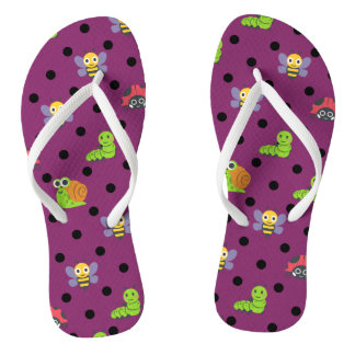 Emoji lady bug snail bee caterpillar polka dots flip flops
