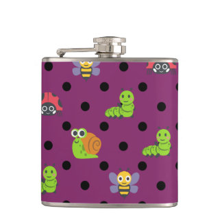 Emoji lady bug snail bee caterpillar polka dots hip flask