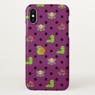Emoji lady bug snail bee caterpillar polka dots iPhone x case