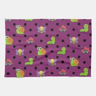 Emoji lady bug snail bee caterpillar polka dots kitchen towel