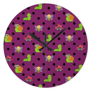Emoji lady bug snail bee caterpillar polka dots large clock