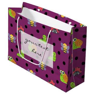 Emoji lady bug snail bee caterpillar polka dots large gift bag