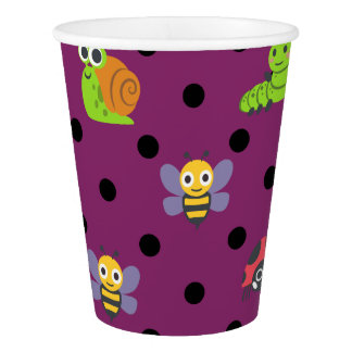 Emoji lady bug snail bee caterpillar polka dots paper cup