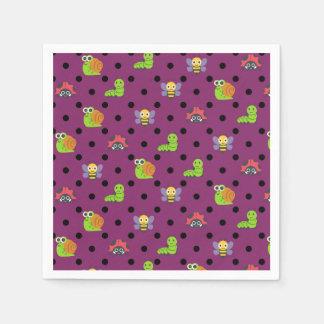 Emoji lady bug snail bee caterpillar polka dots paper napkin