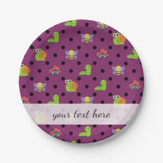 Emoji lady bug snail bee caterpillar polka dots paper plate