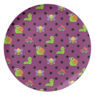 Emoji lady bug snail bee caterpillar polka dots plate