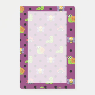 Emoji lady bug snail bee caterpillar polka dots post-it notes