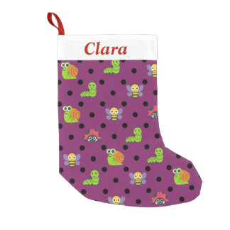 Emoji lady bug snail bee caterpillar polka dots small christmas stocking