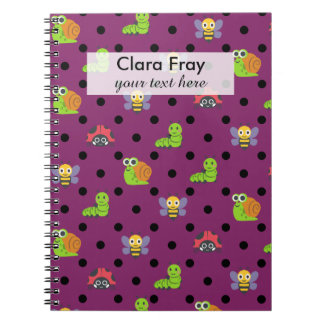 Emoji lady bug snail bee caterpillar polka dots spiral note books