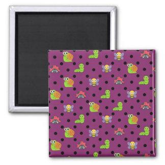 Emoji lady bug snail bee caterpillar polka dots square magnet