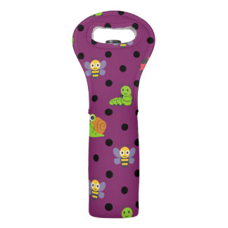 Emoji lady bug snail bee caterpillar polka dots wine bag