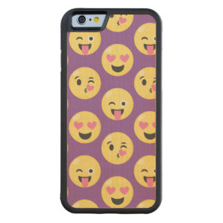 Emoji Love Pattern Carved Maple iPhone 6 Bumper Case