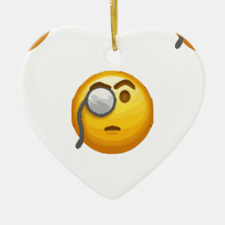 emoji monocle ceramic ornament