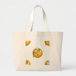 emoji monocle large tote bag