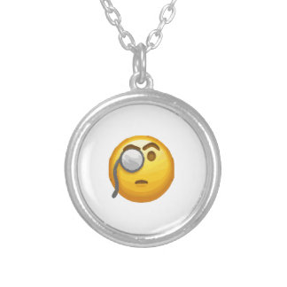 emoji monocle silver plated necklace