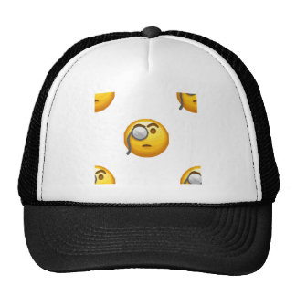 emoji monocle trucker hat