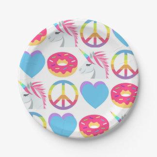 Emoji Paper Plates - Peace, Love, Unicorn, Donuts 7 Inch Paper Plate