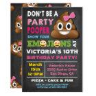 Emoji Party Pooper Girl Birthay Invitation