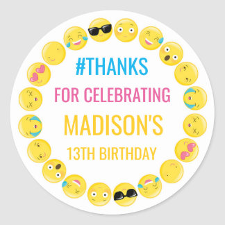 Emoji Personalized Stickers Birthday Favour Labels