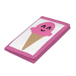Emoji pink ice cream wallet. trifold wallet