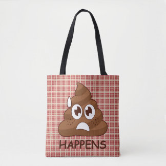 Emoji Plaid Poop Happens Tote Bag