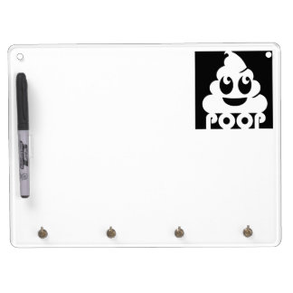 Emoji Poo Square Dry Erase Board With Keychain Holder