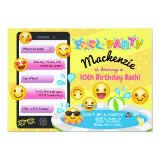 Emoji Pool Party Birthday Invitations