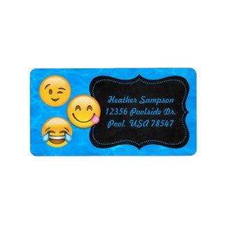 Emoji Pool Water Party Chalkboard Address Labels